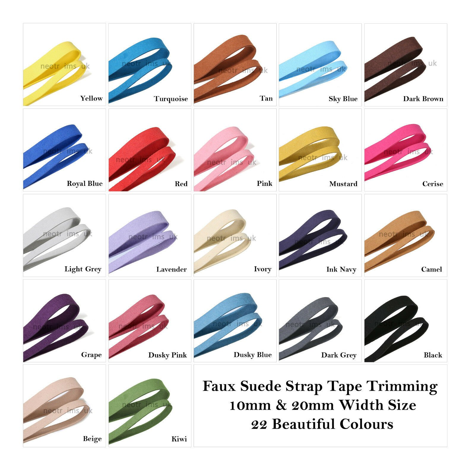Faux Suede Strap Tape Trimming 10mm & 20mm, 22 Colors Strong Soft Smooth Leather