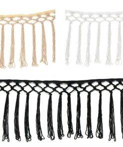Knotted Fringe Fringing Silky Tassel Criss Cross Dress,Costume Trim,17cm,Neotrim