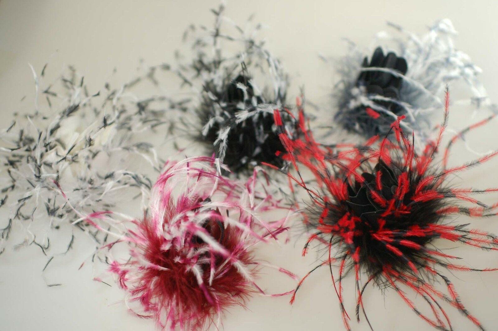 Neotrims Marabu Ostrich Feather Corsage Flower,Decoration,PU,Faux Leather Centre