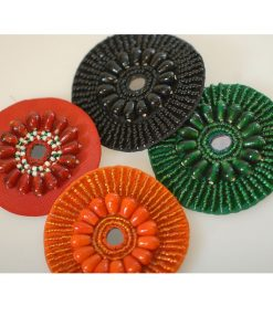 Neotrims Hand Crafted Beaded Motifs, Circles All Over Embroidery Sew on Badges