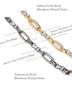 Metal Chain with Diamante Crystal Decorative Trimming,Oval Links,Gold,Gunmetal
