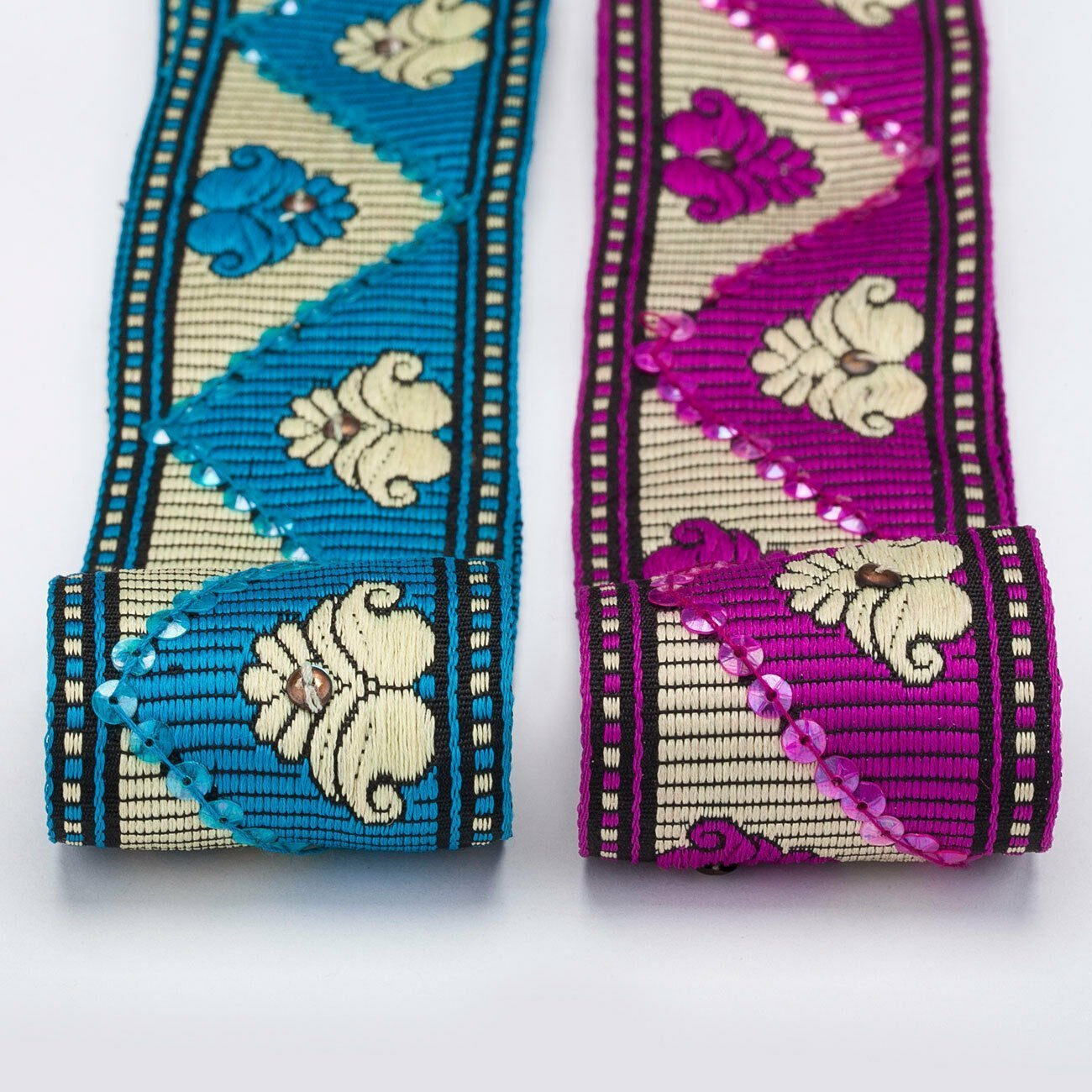 Neotrims Embroidery Ribbon Indian Sari Salwar Kameez Sequin Trim Paisley Lotus