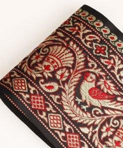 13.5cm Wide Vintage Black Gold Indian Decorative Salwar Sari Trim Ribbon