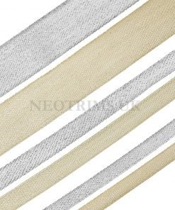 Gold Silver Metallic Trimming Ribbon, Opaque Fishnet Weave 50/30/15 mm, Neotrims