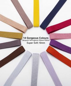 Neotrim Herringbone Jacquard Lines Pattern Twill Tape Ribbon Trim,14 Colours