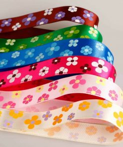 Neotrims Floral Daisy Printed Satin Ribbons, Best Quality 16mm, Edging Trimming