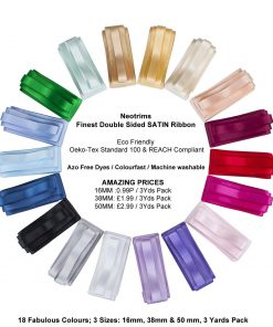 Neotrims Finest Quality Double Sided Satin Ribbon,Cheap Price,6 Sizes,33 Colours