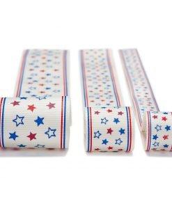 Neotrims Fun Grosgrain Petersham Ribbon USA America Stars Print 16mm, 25mm, 38mm
