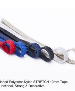 Neotrims 10MM Stretch Lycra Ribbed Flat Tape Braid,Sailing, Camping,Tarpaulin