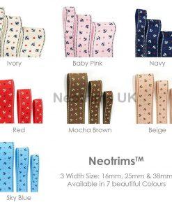 Nautical Anchor Stars Pattern Design Grosgrain Ribbon Trim,16,25,38mm, Neotrims