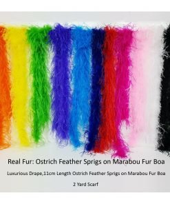 Marabou Ostrich Feather Boa Fur Scarf,Fuller Fatter Luxurious Handle,1 & 2 Yards