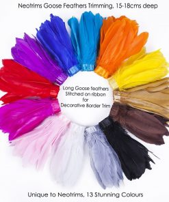 Goose Feather Fringe Trimming,15-18cm for Millinery Hat Crafts Dress Decoration