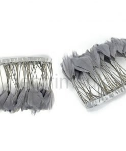 Duck Quill Feathers on Satin Ribbon Trimming Braid, 14cms Deep, Craft Neotrims