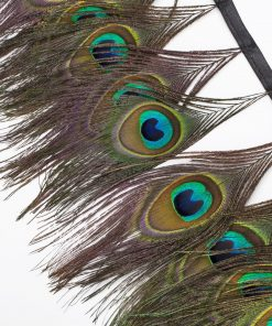 Neotrims Real Natural Peacock Eye Feather Trimming on Satin Ribbon, 15cm Long