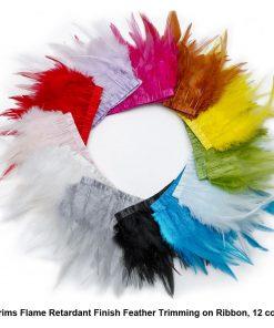 Neotrims REAL Feather Flame Retardant Trimming Fringe, Satin Ribbon, 12 colours