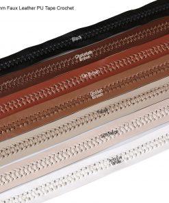 30mm Faux Leather PU Ribbon Strap Tape Trimming, Herringbone Crochet Neotrims