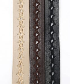 18mm Faux Leather PU Ribbon Strap Tape Trimming, Crochet Weave Pattern Neotrims