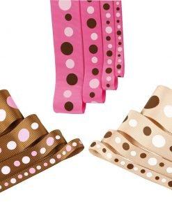 Polka Dot Style Grosgrain Ribbon 38,25,16,10 mm Pink Brown Tan 4m Meter Pack