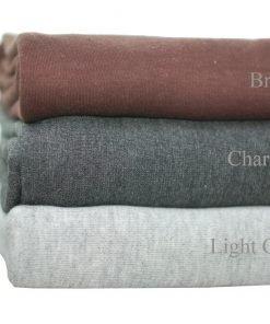 Interlock Knit Rib Jersey Fabric Material,T Shirt Weight,Cotton,Grey Marl, Brown