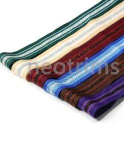 Knit Tape Striped Trimming Ribbon,Glitter Silver Stripe,Costume,Cheerleader,UK