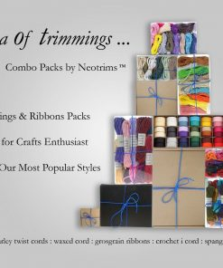 Ribbons, Trimmings & Barley Twist Waxed,Cords Combo Gift Box Neotrims Christmas