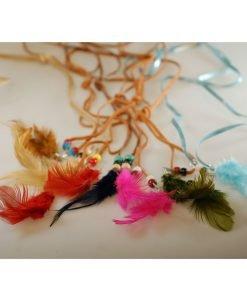 Neotrim Long Strap Feather Belt Tie Decoration,Costume Party,3 Piece Mix Colours